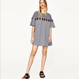 Zara Pom Pom Frilled Mini Dress Flounce Tunic